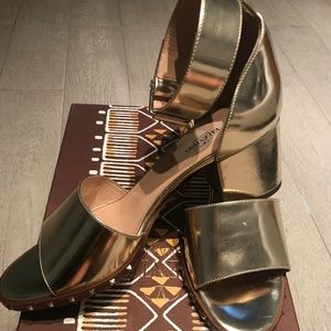 Valentino Shoes - Valentino 65mm Gold Block Heel